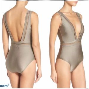 NWT Ted Baker bathing suit size 2 steel gray green